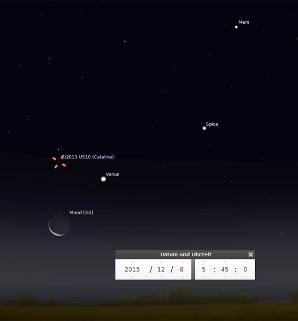 Komet Catalina am 8.12.2015, Quelle Stellarium