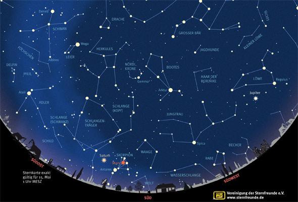 Sternkarte für Mai 2016