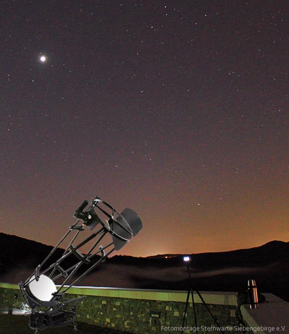 Abb. oben: unser neues Teleskop auf dem Drachenfels