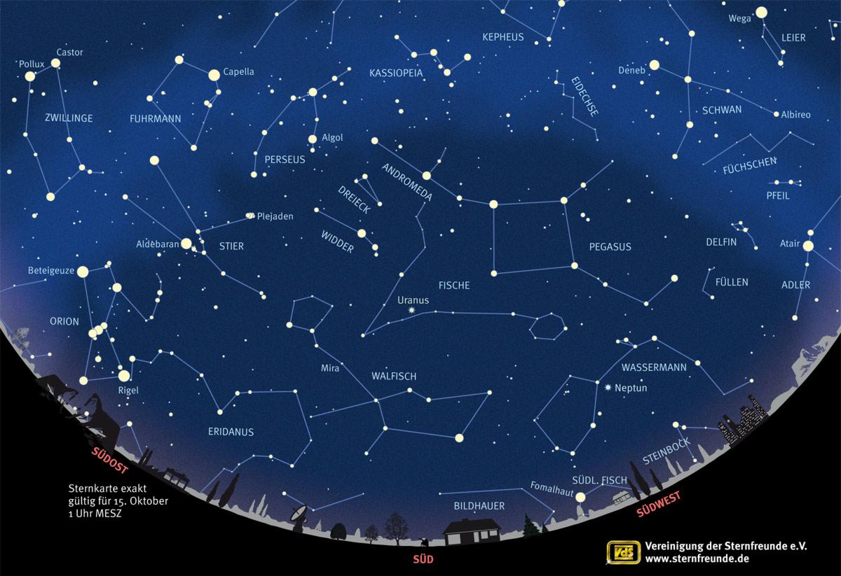 sternbilder karte Der Sternenhimmel im Oktober 2016 – Augen auf für Uranus  sternbilder karte