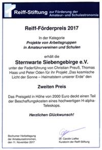 Urkunde-Reiff-Preis-Sternwarte-Siebengebirge-2017-200px